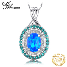 купить JewelryPalace Luxury 1.5ct Oval Created Opal Emerald Pendant Real 925 Sterling Silver Fashion Fine Jewelry Not Include the Chain дешево