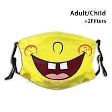 Masque facial Bob en éponge pour adultes et enfants, lavable, amusant, avec filtre, bouche souriante, jaune, Anime