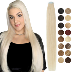 MRSHAIR Tape in Extensions Skin Weft Adhesive Tape in Human Hair Extensions Invisible Non-remy Straight Blonde Brown Black 20pc