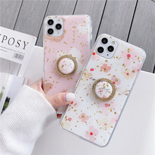 INS Korea Gold Leaf Flowers Leaf Phone Case For iphone 11 11Pro Max XS Max X XR 6 S 7 8 Plus Cover Soft TPU Silicone Coque leaf print iphone case
