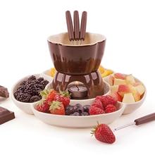 Fondue-Set Chocolate Ceramic Ice-Cream-Pot with Tealight-Candles