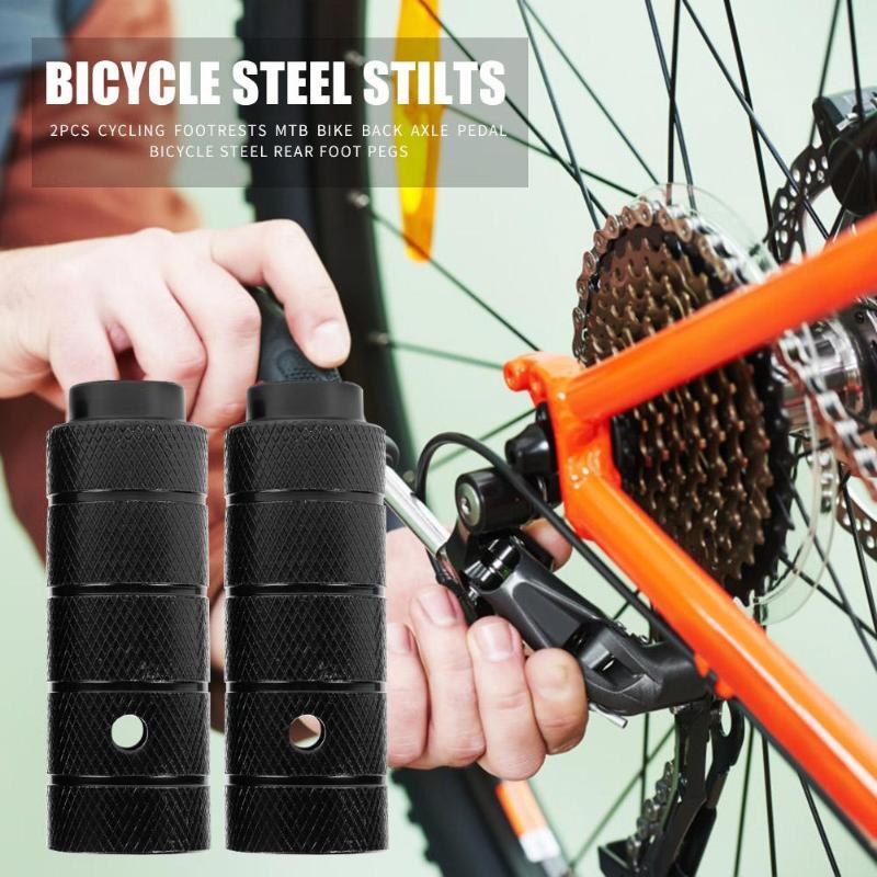 1 Pair Bicycle Foot Stand Pegs Steel Bike Accessory Steel Axle Peg Foot Column