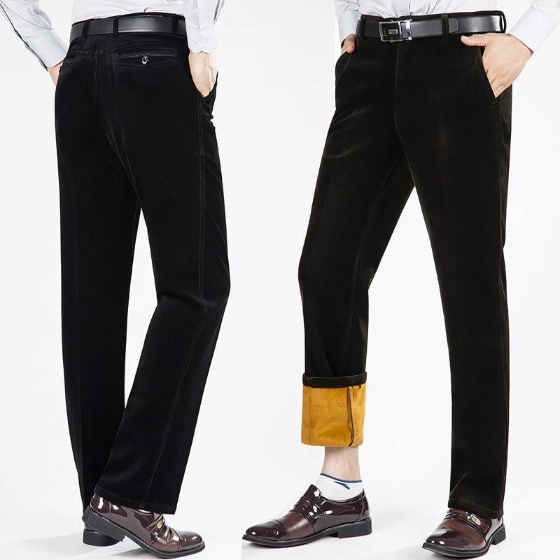 Pantalones De Pana De Invierno Para Hombre Mas Terciopelo Seccion Gruesa Cintura Alta Pantalones Informales De Pana Elasticos Sueltos Pantalones Calidos Para Hombres Aliexpress