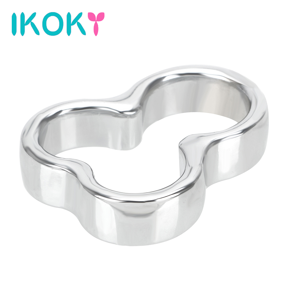 IKOKY <font><b>Ball</b></font> Stretcher Scrotal Bondage Cock Rings <font><b>Sex</b></font> <font><b>Toys</b></font> <font><b>for</b></font> <font><b>Men</b></font> Delay Time Stainless Steel Metal Chastity Devices <font><b>Adult</b></font> Product image