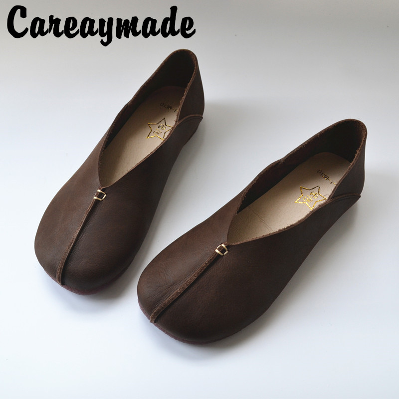 Careaymade-National leprosy leather footwear,recreational single shoes,retro literature and art,cowhide womens original shoes