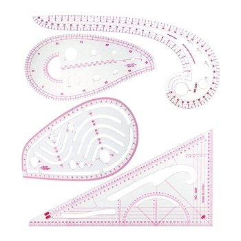 Sewing Ruler Set (4 Pcs) - Metric Ruler Set French Curve Pattern Grading Ruler Dressmaking Drawing Drafting Measure Template Too drawing template ruler circle drafting template contains lots of circles various drafting templates architects
