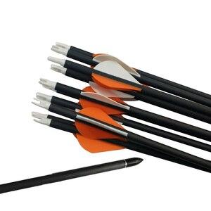 Image 5 - 6/12 Uds 32,5 pulgadas tiro con arco de flecha de carbono con calibre 400 ID 6,2mm reemplazar flecha punto compuesto recurvo caza tiro Accesorios