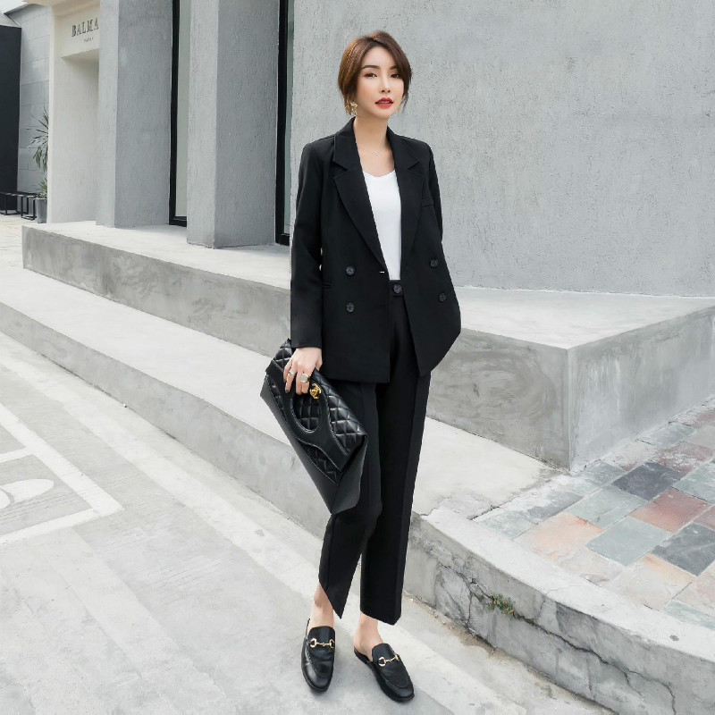 Women's Fashion Women's Pants Suits Two-piece 2020 New Casual Long Sleeve Black Ladies Jacket Blazer Feminine Trousers Suit