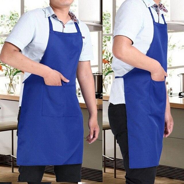 Kochen Schürze Männer Frau Reine Farbe Baumwolle Polyester Ärmellose Schwarze Schürze mit Doppel Tasche Haushalt Reinigung Für Mama Papa