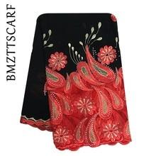 Latest African Women Embroidery Scarfs Muslim High Quality Chiffon Big Scarf for Shawls BM945