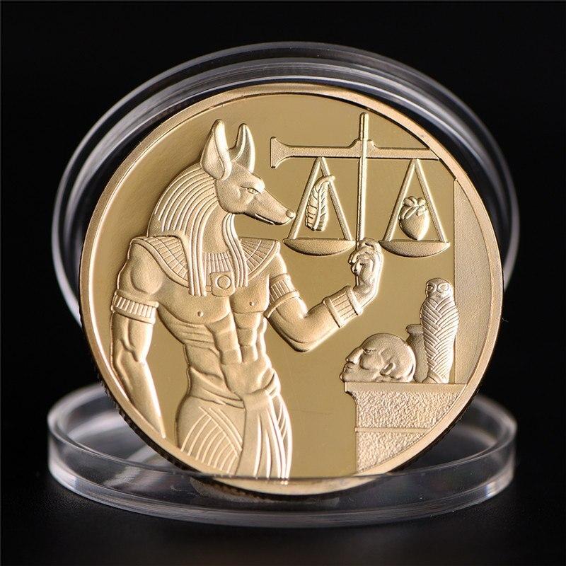 Позолоченный Египетский протектор смерти Anubis монеты копия монеты Египетский бог смерти набор памятных монет подарок
