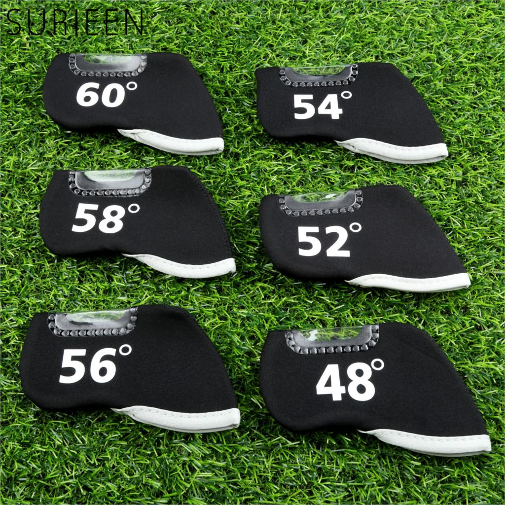 Golf Club Iron Head Covers Neoprene Golf Headcovers Golf Ball Putter Protector Set Protective Cover With Window/Number 6pcs/Set