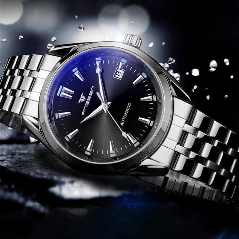 Hollowing Out Mechanical Luminous Watch Blue Big Dial Calendar Waterproof Men Moron Automatic Watches Top Luxury Brand FENZUN