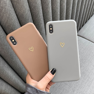 Gold Love Heart Case For Samsung Galaxy Note 20 S20 FE Ultra S8 S10 S9 Plus S10e A51 A71 A70 A50 A81 A20e Couples TPU Cases Capa