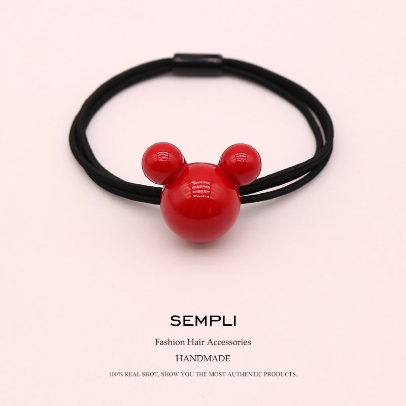 Sempli High Elasticity Nylon Rubber Bands Acrylic Red Mickey Minnie Head Heart Love For Women Elastic Hair Bands Children Cheap