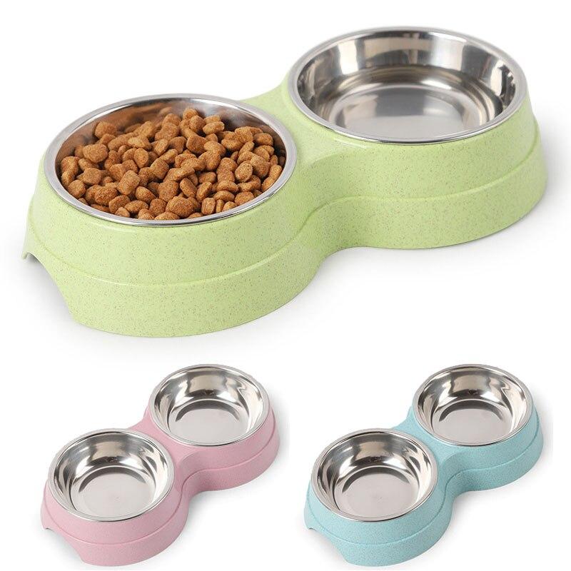 Duplo pet tigelas comida para cães alimentador de água de aço inoxidável pet beber prato alimentador gato filhote de cachorro suprimentos de alimentação pequeno cão acessórios