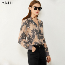Amii Minimalism Spring Autumn Fashion Vneck Lace Hollow Sexy Women Shirt Causal OLstyle Full Sleeve Women's Blouse Tops 12040699