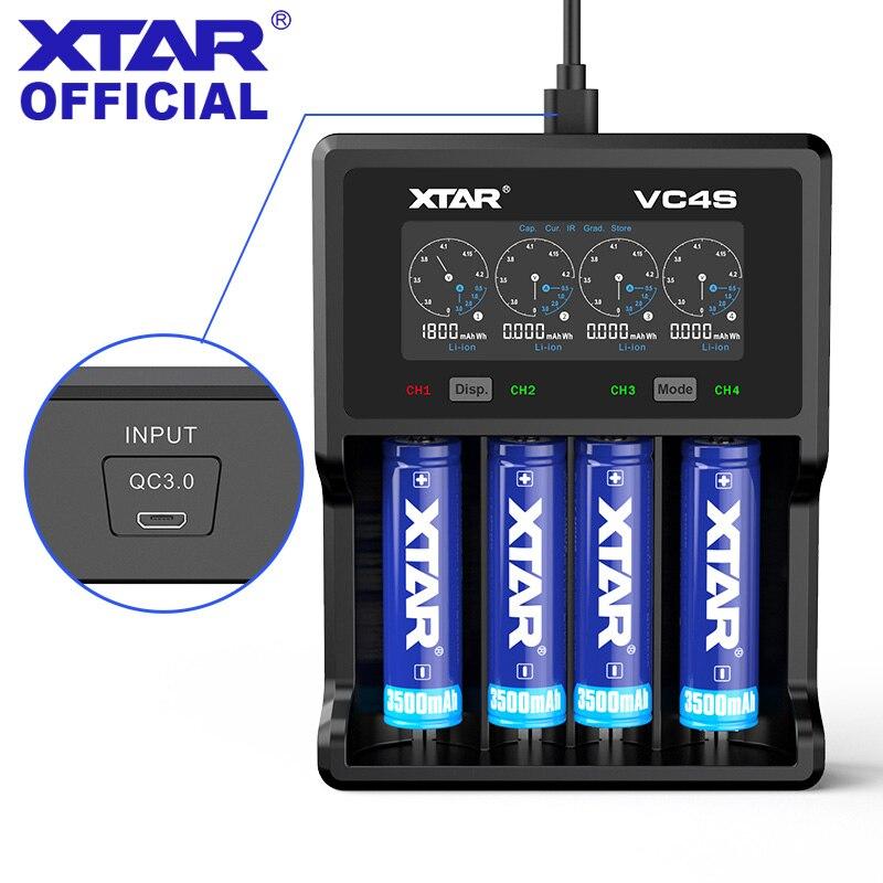 XTAR LCD зарядное устройство VC4S QC3.0 USB зарядка/5 В 2.1A адаптер Micro USB зарядное устройство 3,7 в 1,2 в AA AAA зарядное устройство для аккумулятора 18650|Зарядные устройства|   | АлиЭкспресс