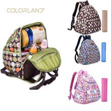COLORLAND brand new large capacity elegant baby diaper backpack with dressing pad bag multi-function printing for Mom