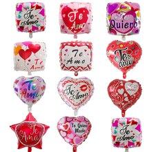 50 pçs 18 polegada espanhol feliz dia eu te amo folha mylar balões amor coração casamento dia dos namorados balão de hélio balão de ar globos bola