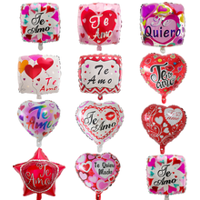 50pcs 18inch Spanish Happy Day I Love You Foil Mylar balloons Love Heart wedding Valentine's Day Helium Balloon Air Globos Ball