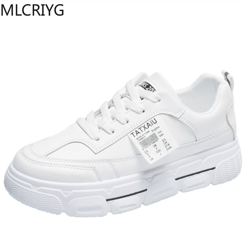 Casual Shoes Ladies Sneakers Spring 2020 Light White Sneakers Thick-soled Heel Shoes Ladies Shoes Comfortable