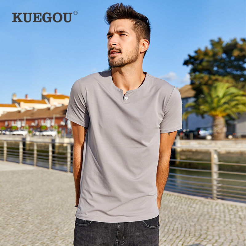 KUEGOU Men's Short Sleeve T-shirt  Summer  Pure Color Round Collar  Cotton Render Unlined Upper Garment  Leisure T Shirt 15114