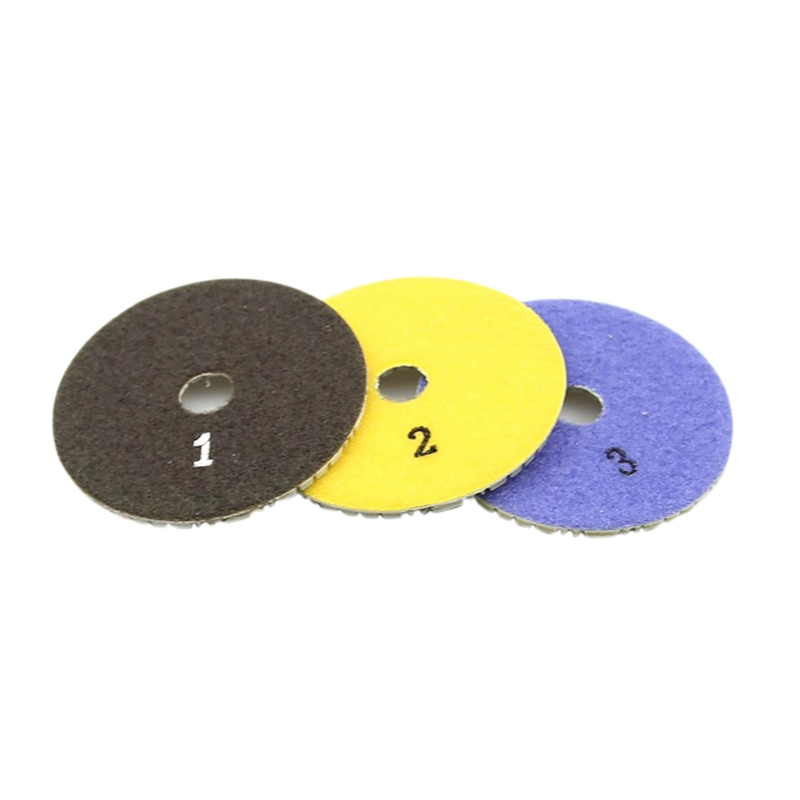 3 Pieces 100Mm Diamond Flexible Wet & Dry Polishing Pads 3 Step Floor Polish For Stone Marble Tile
