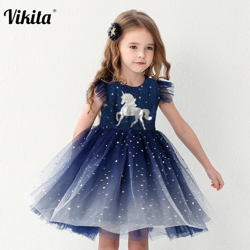 Детское летнее платье принцессы, костюм для девочек на день рождения, для школы, повседневные платья с единорогом