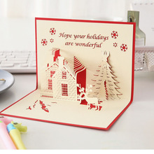 Christmas creative three-dimensional card 3D openwork handmade greeting custom blessing small Cast