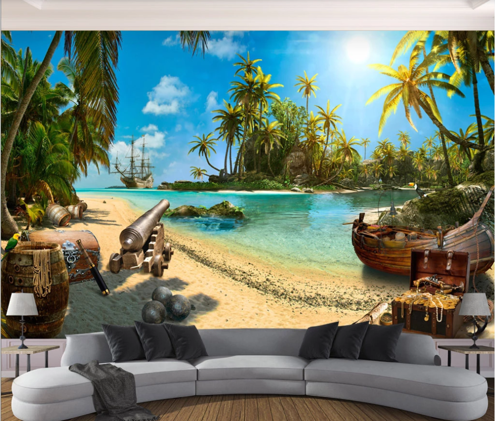 Photo-Wallpaper Mural 3D Island 3d-Background-Wall Treasure Customized Pirate Magical
