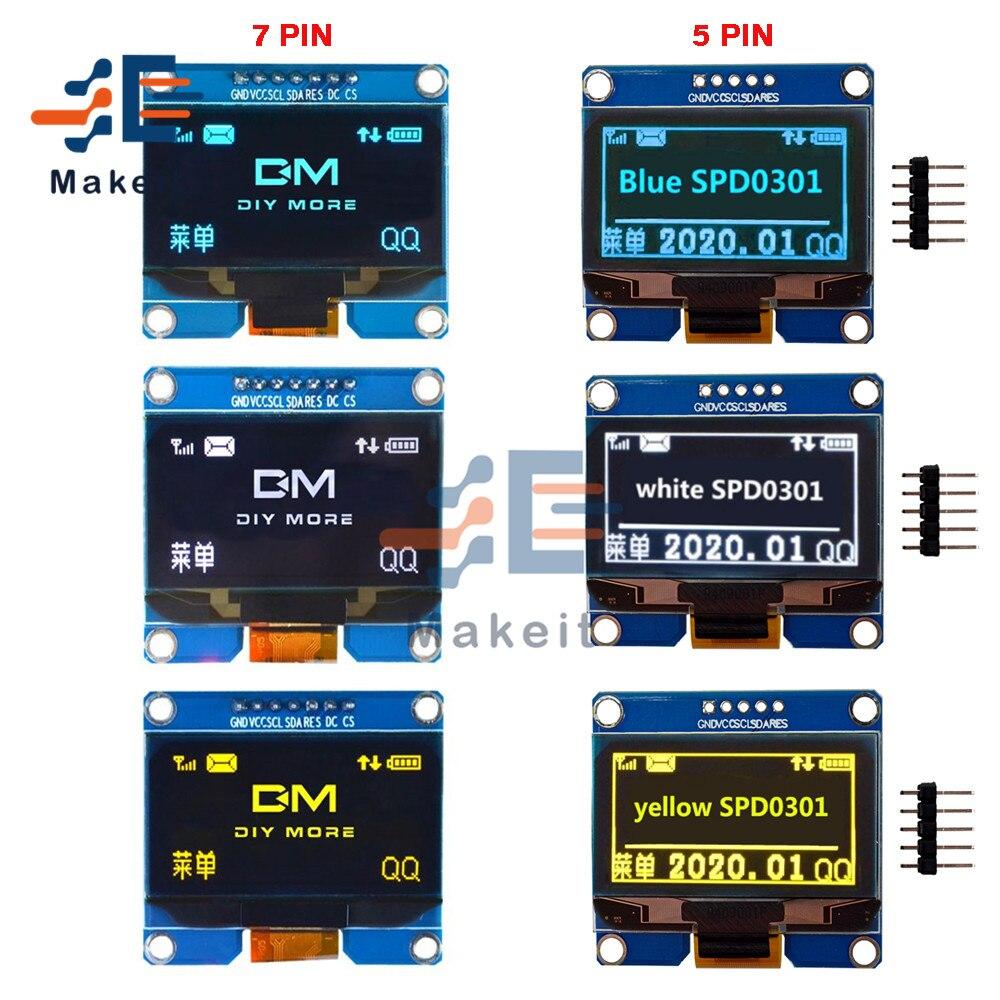 1.54 Polegada módulo oled 5 pinos 7 pinos branco azul amarelo spi iic i2c interface ssd1309 spd0301 driver 128x64 placa de tela