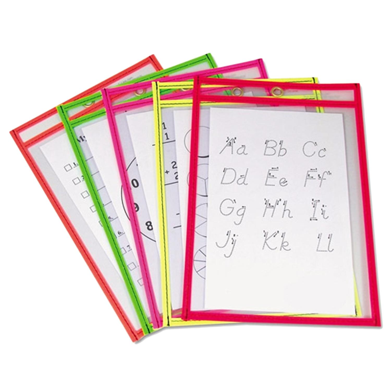 5PCS Reusable Fashionable Clear PVC Dry Erase Pockets Sleeves + 3PCS Pens for Office Classroom Teaching Supplies Random Color