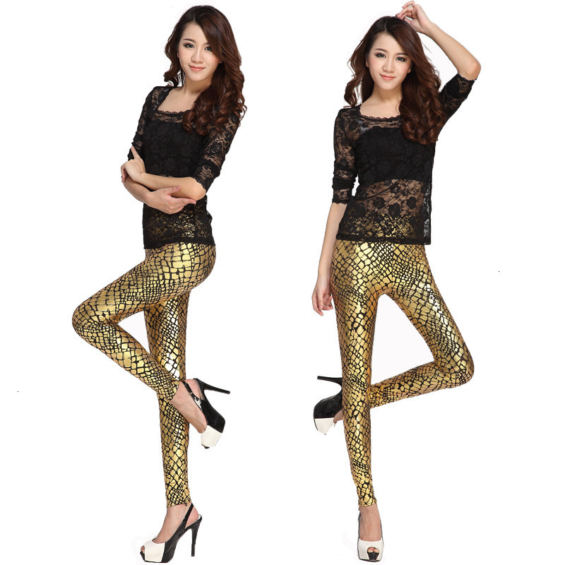 Ms Ragdoll Sexy Shiny Gold Snake Print Causal Push Up Leggings Women High Elastic Waist Fitness Leggins Mujer Skinny Pant Autumn