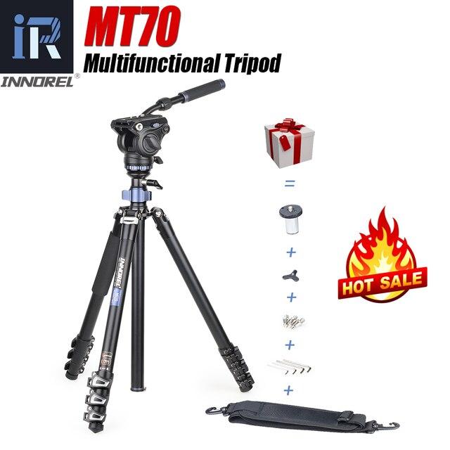 INNOREL MT70 çok fonksiyonlu Video Tripod,Monopod 360 derece CNC alaşım hızlı kapak toka ve sıvı kafa için DSLR kameralar