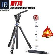 Innorel mt70 tripé de vídeo multifuncional, monopé liga cnc de 360 graus com fivela de aleta rápida e cabeça fluida para câmeras dslr