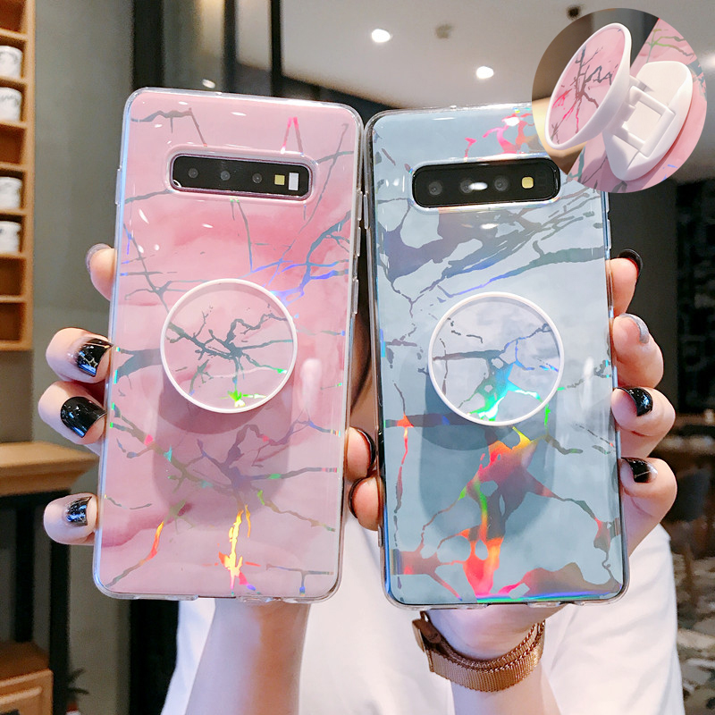 Glossy Marble Kickstand Case For Samsung Galaxy S10e S10 S9 S8 Plus S7 Edge Note 8 9 10 Pro Cover Grip Stand Phone Holder Laser