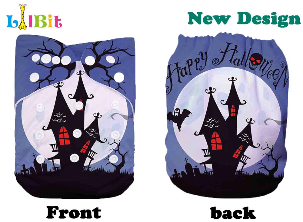 1 PC Reusable Holiday Halloween Print Baby Pocket Cloth Diaper