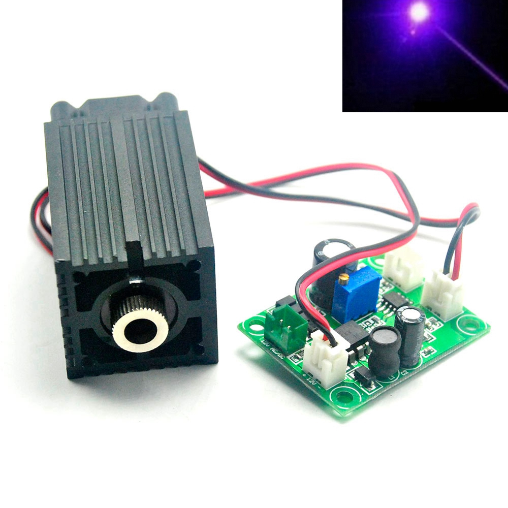 33mm*50mm 12V 405nm 50mw Violet Blue Laser Diode Module Focus Dot Head TTL Fan Driver