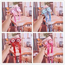 цена на 1pair Chinese Traditional Handmade Flower Tassel Hair Ribbon Sector Hair Pins Festival Hair Clip Kids Hair Accessories Gift