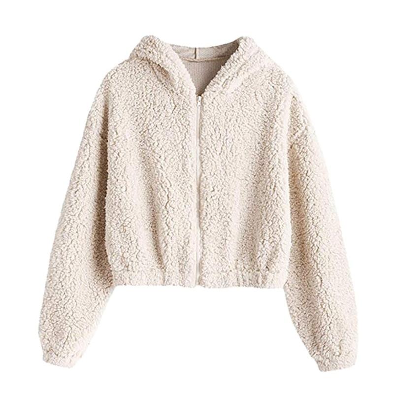 Women's Faux Fur Fuzzy Coat Hoodies Sweatshirt Hoodie Kpop Full-Zip Cropped Sweatshirts Female Winter Warm Hoodies Outwear
