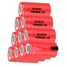 10 шт SC 1500mah 1,2 v батарея NICD аккумуляторы для makita bosch B& D Hitachi metabo dewalt для электрической отвертки