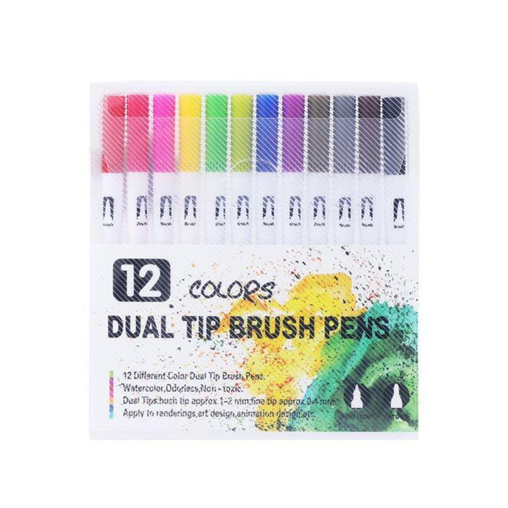 12 Colour Dual Tip Brush Pens With Fineliners Colouring Art Markers Drawing Ace For Children Adult Colouring Drawing Painting