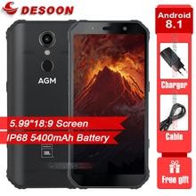 """AGM A9 עמיד למים 5.99 """"FHD + מסך Smartphone אנדרואיד 8.1 4GB 64GB 5400mAh רמקולים מכוונים Quest תשלום NFC OTG הסלולר"""
