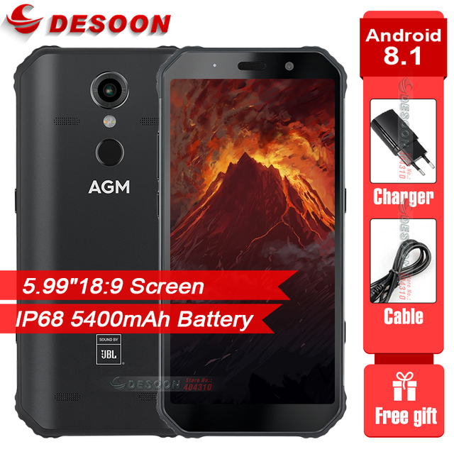"""AGM A9 Waterproof 5.99"""" FHD+ Screen Smartphone Android 8.1 4GB 64GB 5400mAh Tuned Speakers Quest Charge NFC OTG Cellphone"""