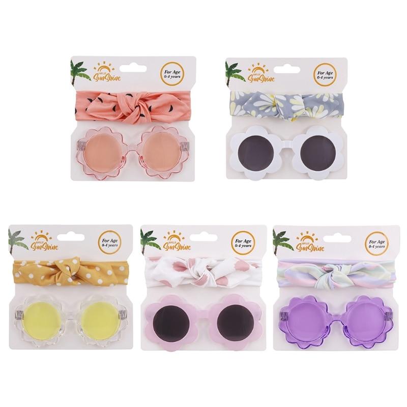 2021 Children Cute Flower Sunglasses Kids Round Glasses Baby Fashion Colors Sunglasses Adorable+ Polyester Headband Set