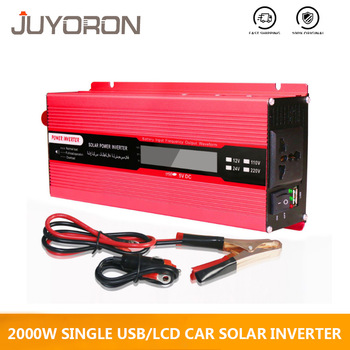 Single USB 2000W Watt DC 12V to AC 220V Car Power Inverter solar Charger Converter Adapter Modified Sine Wave LCD screen 1