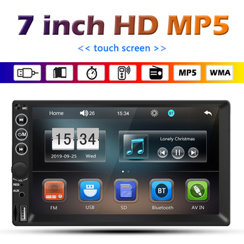 7 inch Double 2 DIN Car Radio Display Ultra Slim Multimedia Video Player Bluetooth TF U Disk AUX-in FM Auto Stereo Universal image