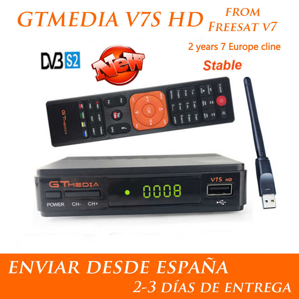 Hot DVB-S2 Freesat V7 Hd Met Usb Wifi Fta Tv-ontvanger Gtmedia V7s Hd Power Door Freesat Ondersteuning Europa Cline netwerk Delen