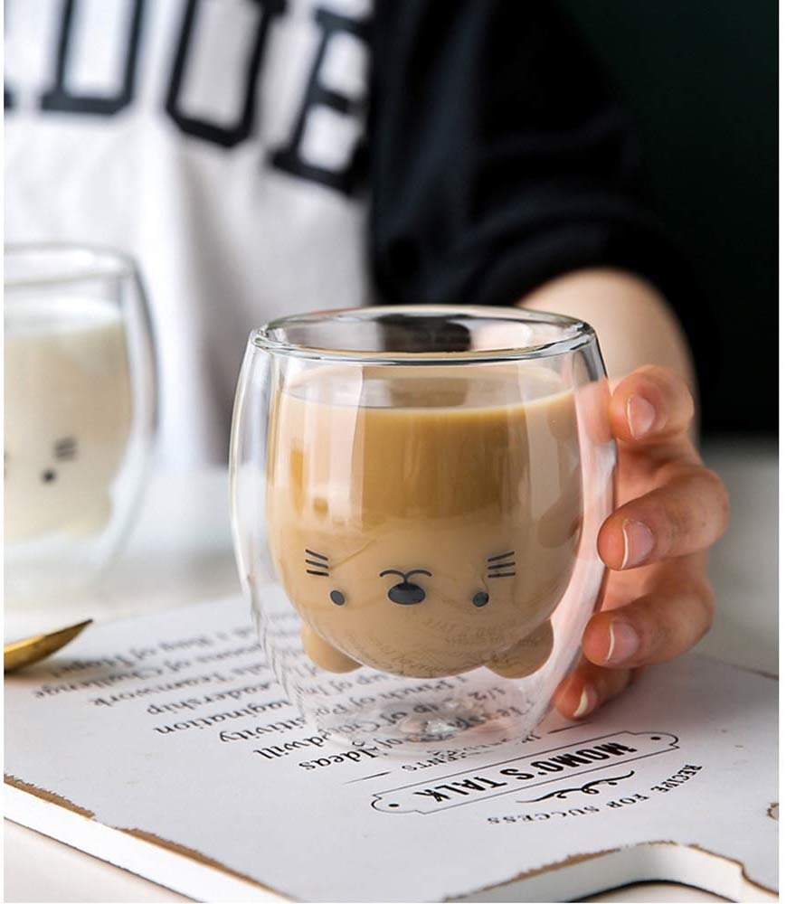 Creative Cute Bear Double-layer Coffee Mug Cartoon Baby Duckling Animal Milk Glass Lady Cute Gift Cup Christmas gift 1
